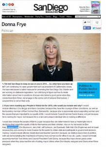 San Diego Magazine DONNA FRYE People to Watch in 2014